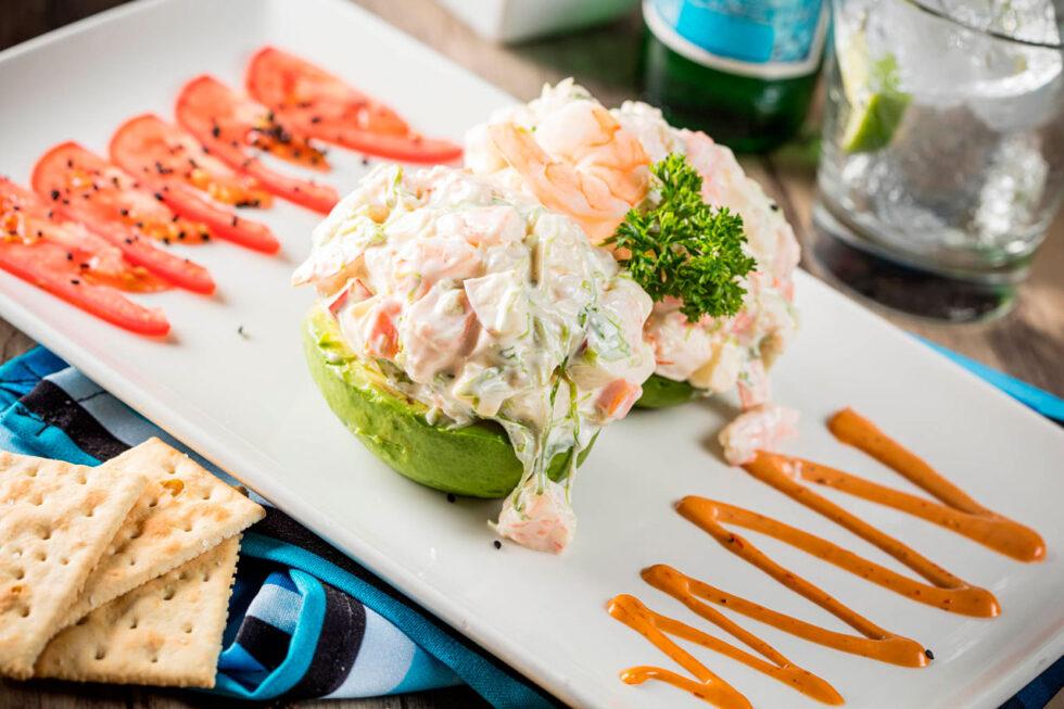 Stuffed avocado with shrimp